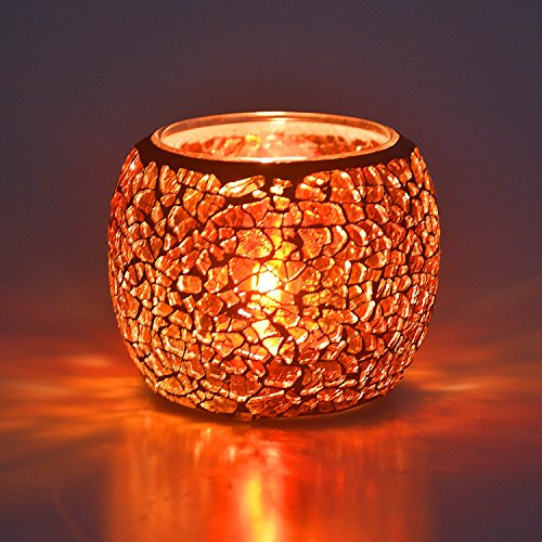 Sasiki Candle Holder/Mosaic Handmade Glass Votive Tealight Candle Lamps Handlestick Artwork for Home/Valentine Décor Christmas Wedding Party Gift (9)