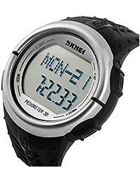 Skmei unisex digital LCD multifuncional podómetro 3d correa de goma deportes reloj de pulsera–plata