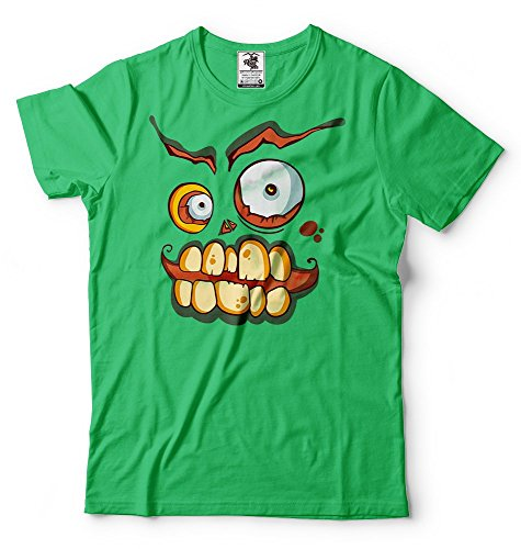 ween Männer Scary Lächeln-T-Shirt Lustiges Halloween-Kostüm-T-Shirt Small Grün (Super Scary Halloween Kostüme)