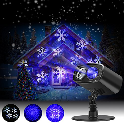 Projecteur Noël LED Extérieur, Lampe d'Ambiance Imperméable avec Flocons de Neige Blanche Bleue, Jeu de Lumière Animée ou Statique, Eclairage de Décoration Murale pour Fête Noël Carnaval