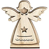 3 De D ángel de madera, diseño 2, 14,4 cm x 16