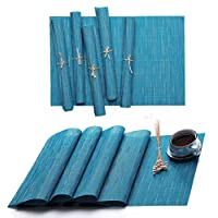 Hysenm Table Runner Table Placemats Table Mats Solid Color PVC Vinyl Set Bamboo Pattern Heat Resistant 1XTable Runner + 6Pcs Placemats Blue CDTS016-26