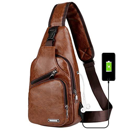 longmiao Mochila de bandolera de cuero vintage para hombres Bolso bandolera con puerto de carga USB para caminatas Ciclismo Camping Daypacks