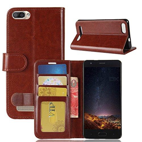 DOOGEE X20 Brieftasche Hülle, GOGMEE® Senior PU-Leder Brieftasche Telefon-Kasten mit Einschubfächer für Karten, Magnetische Verschluss, Flip Bracket Funktion, Braun