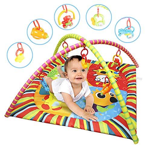 YAOBLUESEA Krabbeldecke Spieldecke mit Spielbogen Erlebnisdecke Spielmatte für Baby