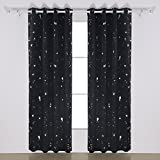 Deconovo Ring Top Blackout Curtains Silver Dots Foil Printed Thermal Insulated Curtains for Boys Bedroom 46 x 54 Inch Black One Pair