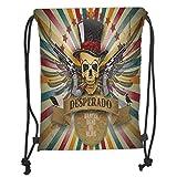 PPOOia Drawstring Backpacks Bags,Western,Vintage Desperado Emblem Design with Skull...