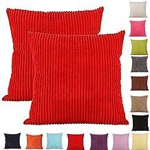 Comoco® -2pcs color sólido grueso pana funda para cojín decorativo para sofá disponible en 15colores y 7tamaños, Rojo, 40 x 40 cm