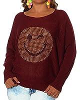 G660 Damen Winter Pullover Bluse Smiley Pulli Strick Smily Sweater Shirt