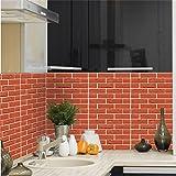 3D Brick Wall Stickers, Wasserdicht Brick Pattern Three-dimensional Wall Wallpaper, Ziegelstein Muster Tapete,Selbstklebend Steinoptik, 3D Optik für Wohnzimmer, Schlafzimmer oder Küche - 30*30CM (Color - H)