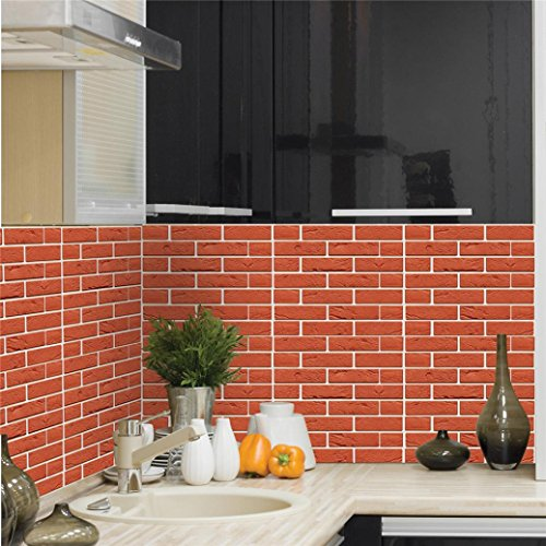 3D Brick Wall Stickers, Wasserdicht Brick Pattern Three-dimensional Wall Wallpaper, Ziegelstein Muster Tapete,Selbstklebend Steinoptik, 3D Optik für Wohnzimmer, Schlafzimmer oder Küche - 30*30CM (Color - H)