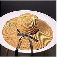 Sombrero Sombreros de Paja Señora Ocio IR en un Viaje del Arco de Sombrero de Paja al Aire Libre en Vacaciones Alero Protector Solar Sombrero for el Sol