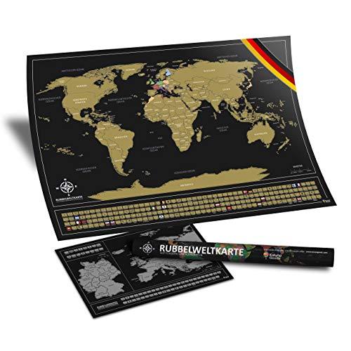 eltkarte (Deutsch) - 84 x 58 cm Landkarte mit Flaggen zum Rubbeln + A3 Bonus Europa Rubbelkarte - XXL Poster zum Freirubbeln in Schwarz/Gold, inkl. Geschenk-Verpackung ()