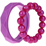 MyBoo Autism/Sensory/Teething Chewable Geometric And Beads Bracelet Bundle - Set Of 2, Purple/Magenta