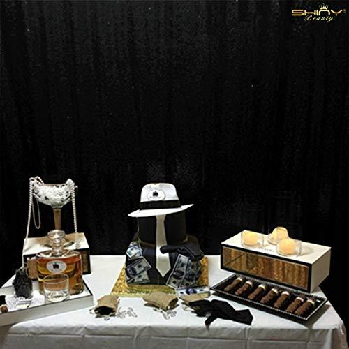 ShinyBeauty ShinyBeauty-210x215cm-Pailletten-Schwarz-Pailletten-Panels Pailletten Vorhänge,Pailletten Kulissen, Zeremonie Kulisse,7ft*7ft Pailletten Stoffs(7x7ft, Schwarz) -