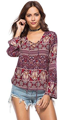 Langarm Schnürung Schnürschuh Tiefer V-Ausschnitt Barock Ethnisch Stammes Afrikanische Aztekisch Paisley Blouse Bluse Shirt Hemd T-Shirt Oberteil Top Burgund M (Peasant Top Renaissance)