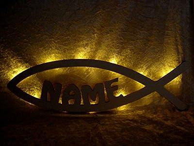 """Schlummerlicht24 Nachtlicht Lampe """" Kommunion Fisch """", Geschenke mit individuellem Namen, ideal als Geburtsgeschenke Taufgeschenke für das Kinderzimmer Junge Mädchen, handgemacht"""