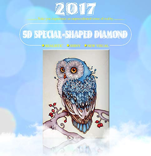 F-blue Runde 5D Rhinestone-Eulen-Blau-Hut-Diamant-Malerei DIY Karikatur-Tier-Crafts Resin Hand Kristall-Kreuz-Stich -
