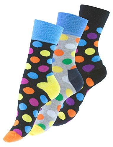 3 Paar knallig bunt gepunktete Damen Socken