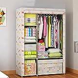 Campingschranker Yhz@ Falten einfacher Kleiderschrank Tuch Stahlrahmen Tuch Kleiderschrank Aufbewahrungsbox Einfache Moderne Wirtschaft Schlafzimmer Einbauschrank (Farbe : C)