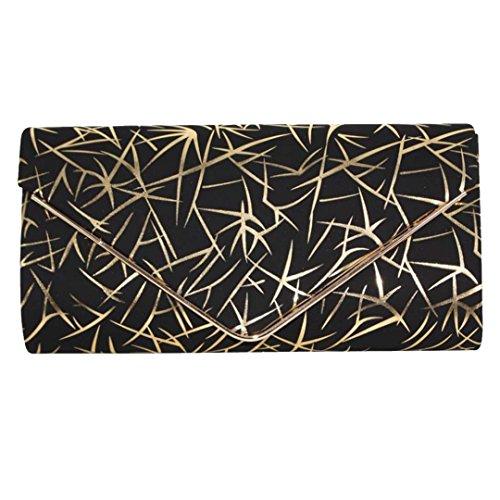 AiSi Damen kleine moderne Handtasche / Clutch / Umängetasche / Schultertasche / Messenger Bag / Abendtasche mit Kette Magnetverschluss schwarz Gold