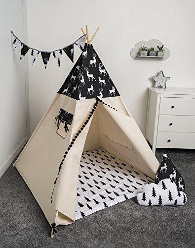 74 Tipi Teepee Spielzelt Zelt Kinder Kinderzelt 4 Zubehör Indianer Kissen Decke