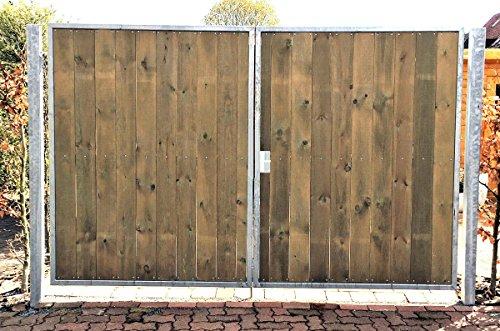 Einfahrtstor / Einbaubreite 300 cm / Einbauhöhe 160 cm / Hochwertiges 2-flügeliges symmetrisch geteiltes Tor / Verzinkt mit Holzfüllung / Holz Tor Gartentor Hoftor