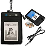 Elv PU Leather ID Badge Card Holder Wallet with 5 Slots, 1 Side RFID Blocking Zipper Pocket and 20-inches Neck Lanyard/Strap