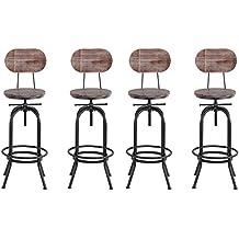 IKAYAA 4 Tabouret De Bar Hauteur Reglable Vintage En Bois Salle A Manger