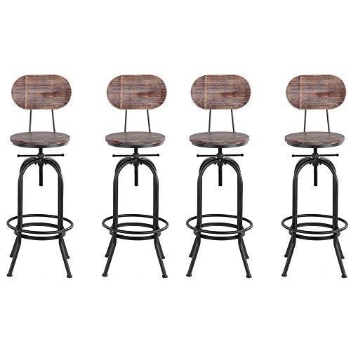 Ikayaa sgabello industriale, set di 4 sgabelli da bar, industrial style bar sgabello altezza regolabile girevole cucina sedia da pranzo pinewood top + metallo con schienale (4 pezzi)