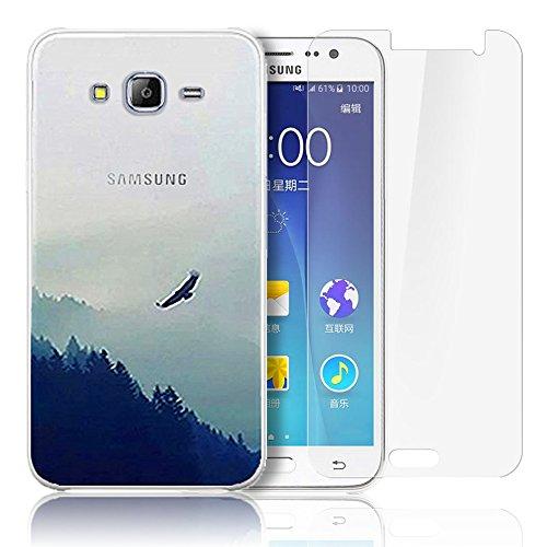 Cover Samsung Galaxy J500,Samsung Galaxy J5(2015) Custodia , Paesaggio Scenario Ultra Sottile PC Opaco trasparente Back Protettiva Case + 1x Protezione Dello Schermo Screen Protector - Eagle