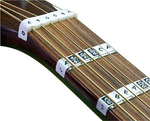 FRETNOTES Pegatinas - para GUITARRA eléctrica o acústica de 6 cuerdas - 25 etiquetas con en línea lecciones