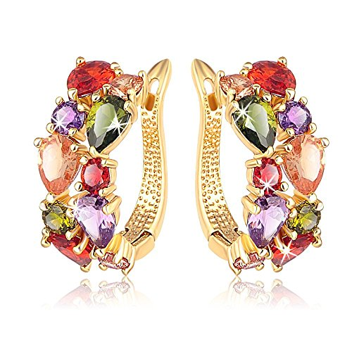 Yellow Chimes Sparkling Colors Flowerets Vine Swiss CZ 18K Gold Plated Clip...