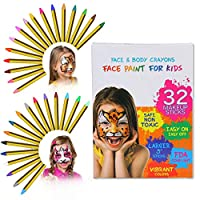 ThinkMax Face Paint Crayons for Kids, 32 Colors Face & Body Painting Makeup Crayons, Safe & Non-Toxic, Ideal for Birthday Party, Halloween