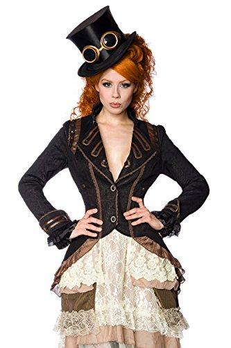 Gothic Vintage Punk Edler Mantel Gehrock Jacke schwarz/braun Halloween Karneval, Größe:M