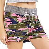 FNKDOR Damen Shorts Stoff Baumwolle Hot Pants mit Gummizug Kurz Hose Beach Sportshorts (L, B Camouflage)