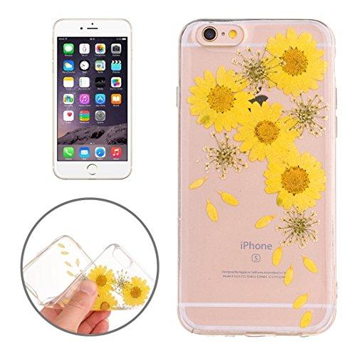 Easy go shopping custodia protettiva in tpu trasparente rigata con fiore reale essiccato a gocciolamento epossidico per iphone 6 e 6s (sku : ip6g2996g)