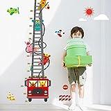 Wallpark Mignon Lapin Pompier Dessin animé Feu Camion Croissance Hauteur Toise Amovible Stickers Muraux Autocollants, Enfants Bébé Chambre Pépinière DIY Décoratif Adhésif Stickers Mural