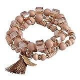 KnSam 3 Stücke Set Charm-Armband Beads Armbandanhänger Glasperlen Flügel Kugel Armreif Geschenk für Damen - Khaki