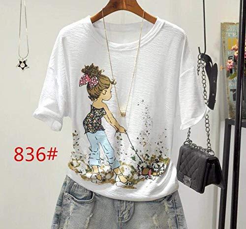 Preisvergleich Produktbild ljradj banxiu T-Shirt Frauen Wild Print lose Top 5 L