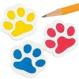 6 x Pfoten Radiergummi Radierer mit Pfotenabdruck Hund Katze Tatze als Mitgebsel für den Kindergeburtstag