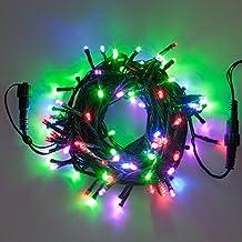 Catena 50 m, 500 led multicolor, cavo verde, con trasformatore, giochi di luce, catena di luci, decorazioni natalizie, luci colorate per albero di Natale