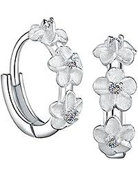 Meyiert 925 Sterling Silver Cubic Zirconia Flower Leaf Cuffs Climber Ear Vine Wrap Stud Earring PkFja
