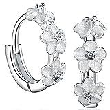 Meyiert 925 Sterling Silver Cubic Zirconia Flower Cluster Hoop Stud Earrings for Women (with Gift Box) (White)