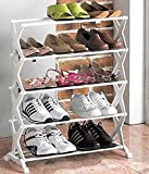 Inditradition 5 Layer Foldable Shoe Rack Unbreakable Plastic For 15 Shoe Pair (White)
