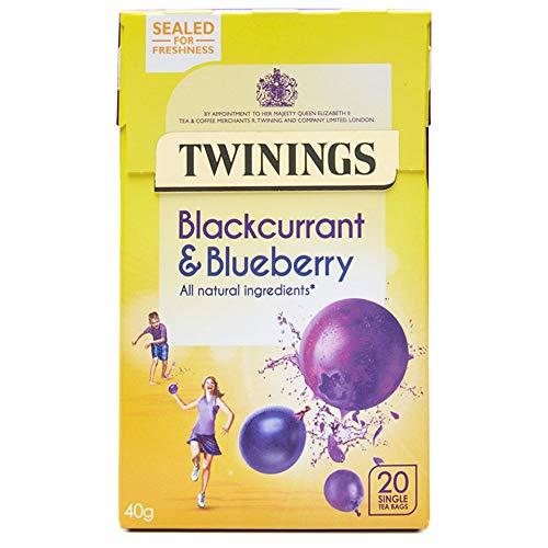 TWININGS Blackcurrant & Blueberry 2x 20 Teabags (80g) - Johannisbeer & Blaubeer Tee, Früchtetee