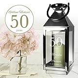 Edelstahl Laterne ELEGANT Silber Metall Glas - Windlicht zur Goldenen Hochzeit mit Gravur - Personalisiert mit WUNSCHNAMEN und DATUM - MOTIV 50 Jahre