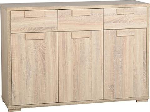 Seconique Cambourne 3 Door 3 Drawer Sideboard - Sonoma Oak Effect