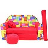 Kinder Sofa Couch Baby Schlafsofa Kinderzimmer Bett gemütlich verschidene Farben und motiven (D32 rot Legosteine)