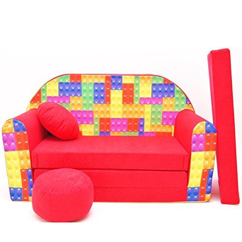Barabike D32-b pour Enfant Canapé bébé Canapé Mini Canapé Canapé lit Pouf Lot de 3 en 1 d'oreillers en Mousse